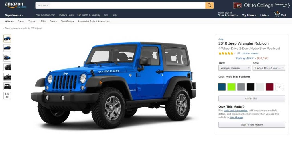 Amazon predáva automobily on-line