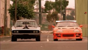 Toyota Supra v pravo zachytená z filmu Rýchlo a Zbesilo